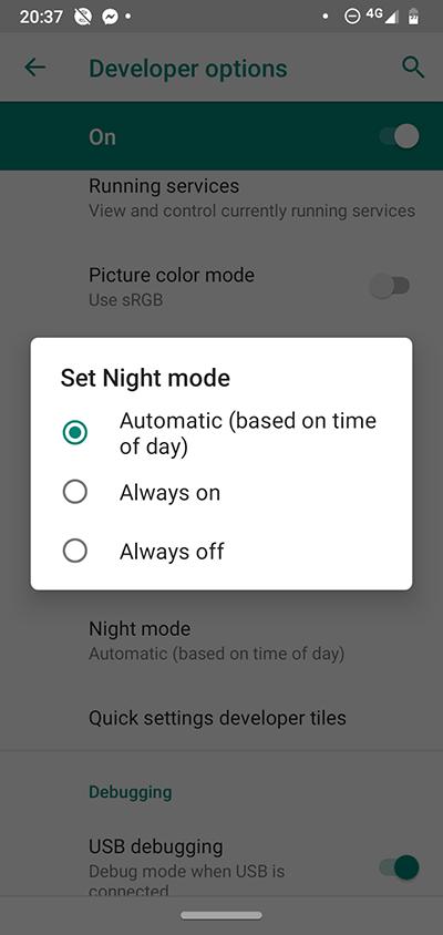 Android-utvecklaralternativ Nattläge