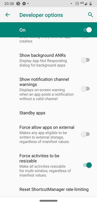 Fönstret Alternativ för Android-utvecklare Ändra storlek