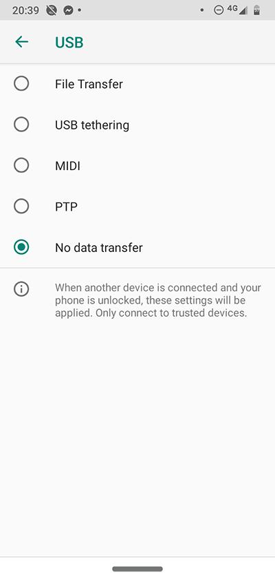Android-utvecklaralternativ Usb-anslutning