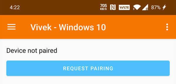 Begär parning från Android till Windows