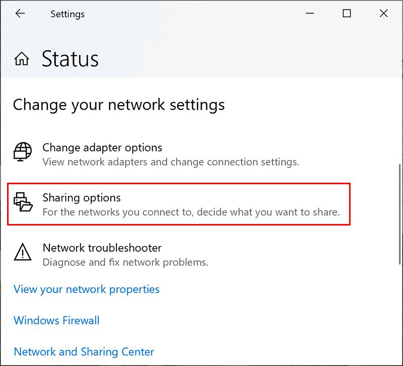 Windows  Nätverksdelningsinställningsmeny
