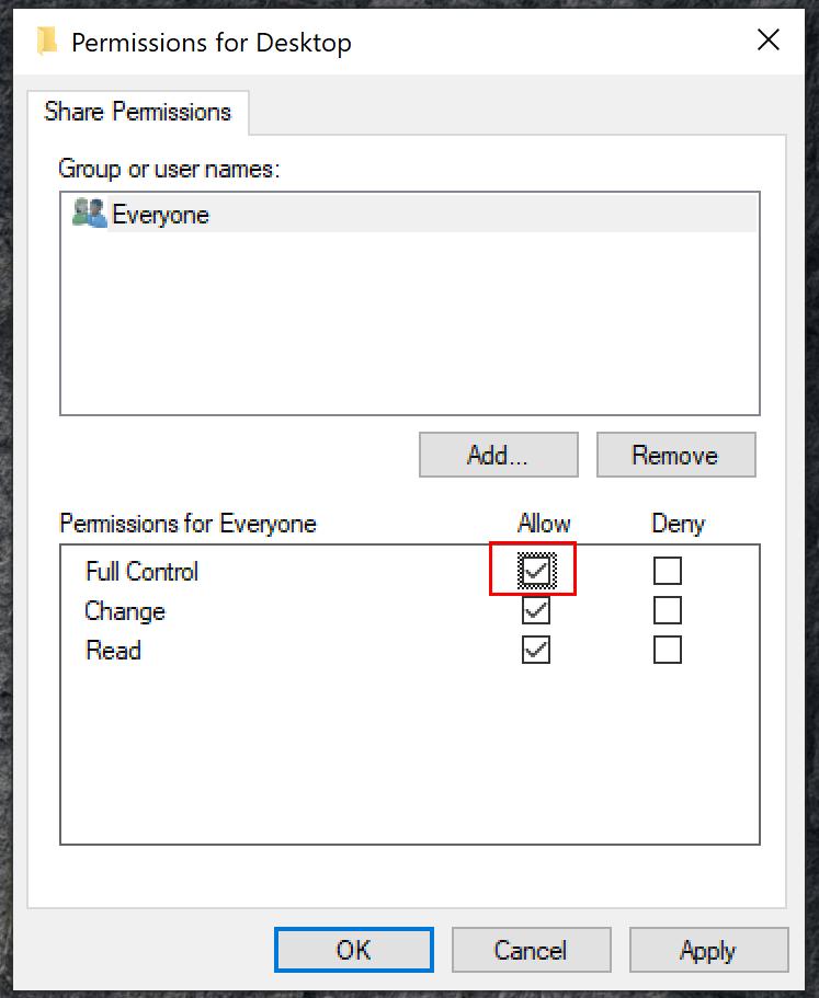 Windows  Mappdelningstillstånd
