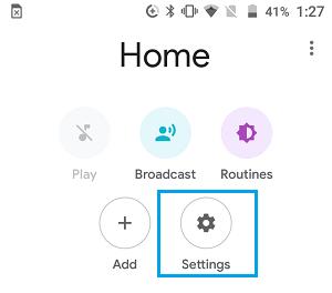 Inställningsikon i Google Home App