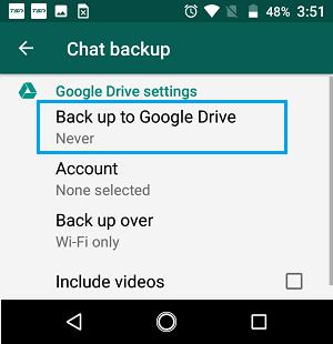 Sao lưu tùy chọn Google Drive trên màn hình cài đặt WhatsApp