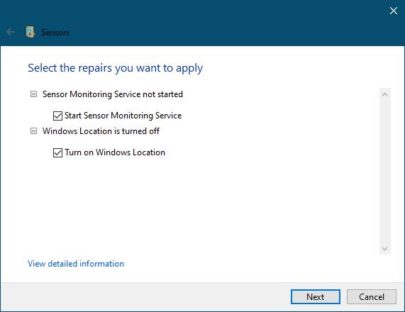 Sensors Felsökare fixar problem med sensor, rörelse och plats i Windows 10 1