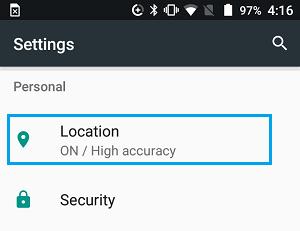 Fliken Plats på skärmen för Android-inställningar