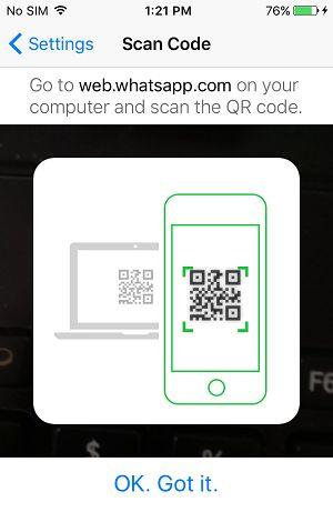 Naskenujte QR kód WhatsApp pomocou smartfónu