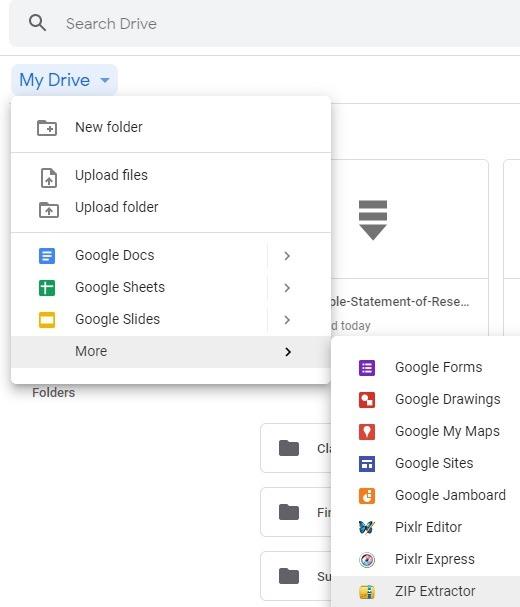 Hitta Zip Extactor i Google Drive