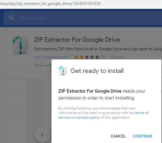 Zip Extractor för Google Drive G Suite