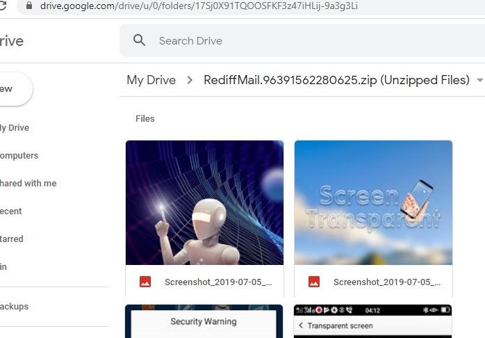 Zippade filer som visas på Google Drive