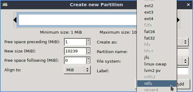 Linux Ntfs Format Partition Settings