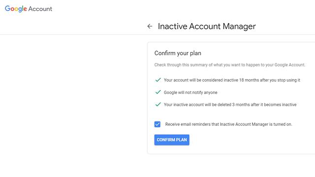Radera automatiskt inaktivt Google-konto