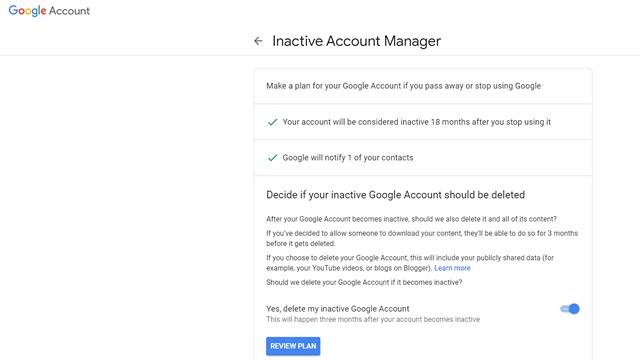 Radera inaktivt Google-konto automatiskt 6