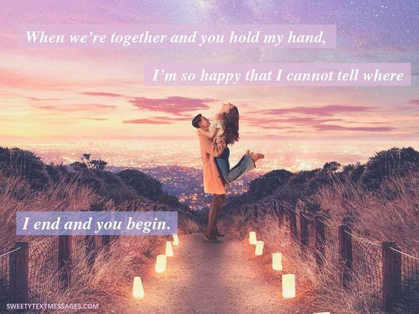 Romantisk textidé för honom från henne