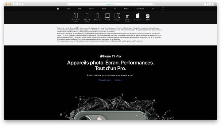 Frankrikes webbplatsbild Apple med meddelande om bra