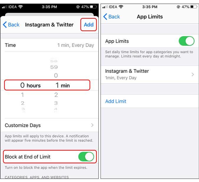 blockera vid slutet av tidsgränsen som är inställd på en minut - lås app på iphone