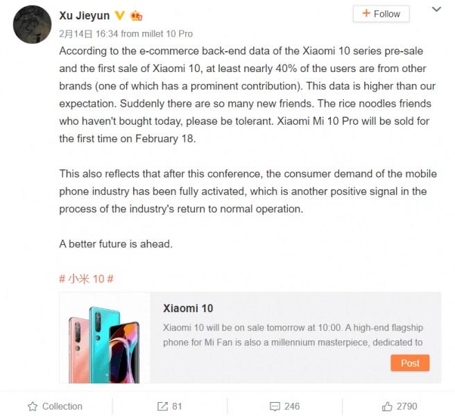 Xiaomi Mi 10: 40% av köparna kommer från konkurrerande varumärken 2