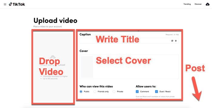 Hur man publicerar TikTok-videor från skrivbordet 3