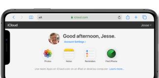 iCloud dot com on iPhone