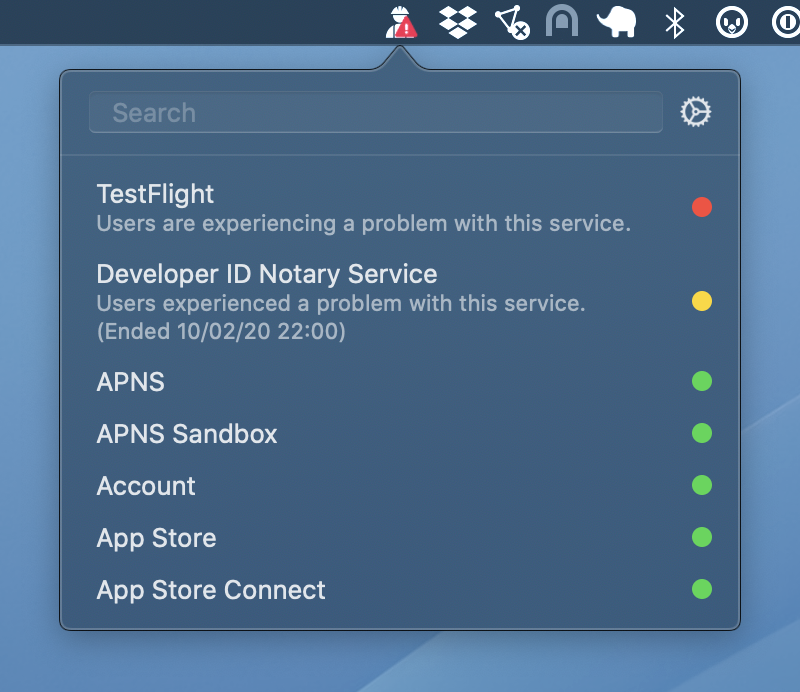 Kontrollera snabbt status för AppleUtvecklare och konsumenttjänster med StatusBuddy 2