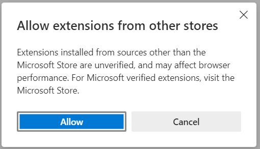 Edge mot Chrome Tillåta tillägg