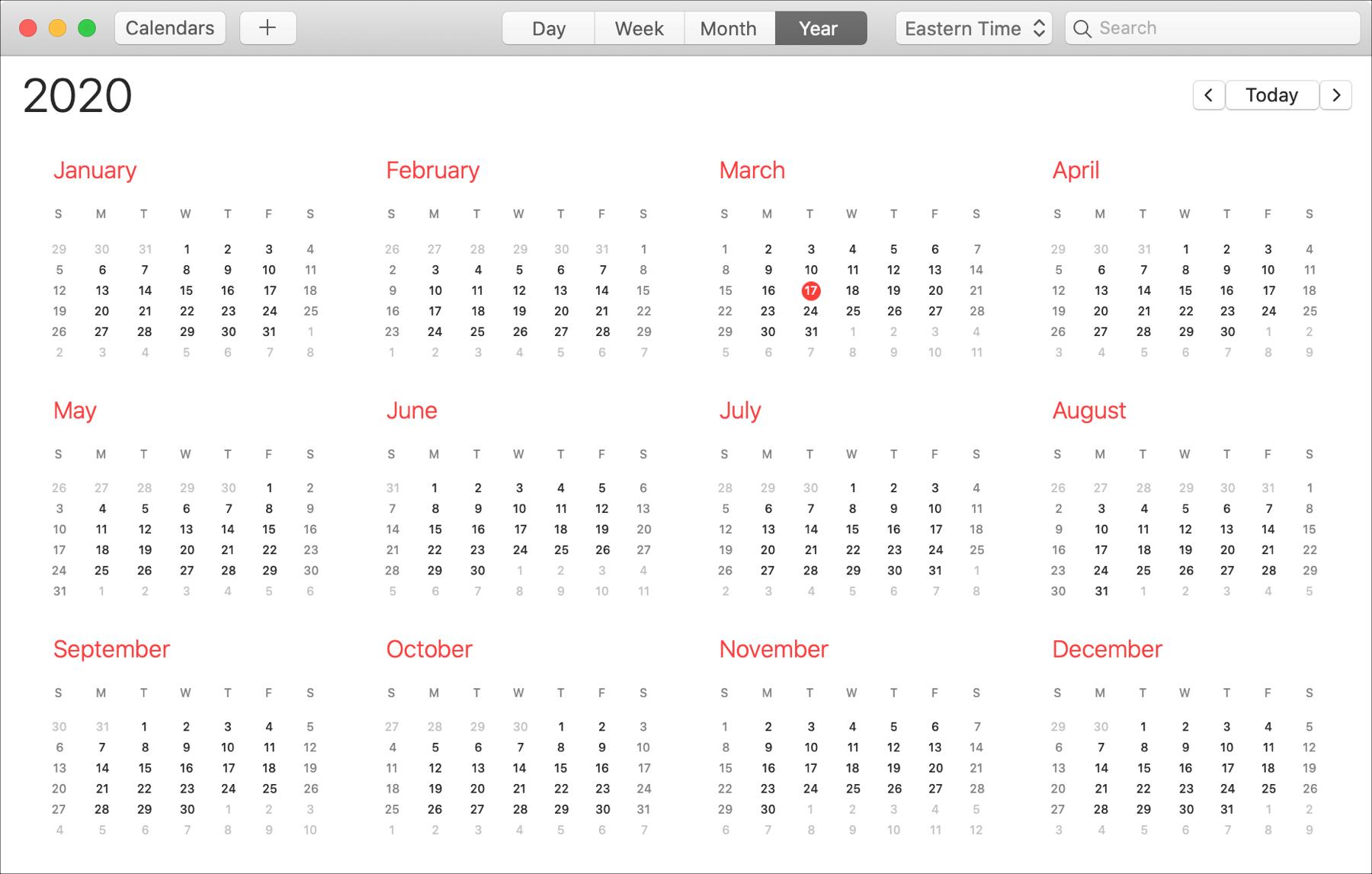 Lịch năm trên Mac