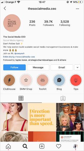 Instagram    hồ sơ Ví dụ