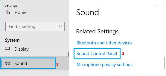Mở tùy chọn bảng điều khiển âm thanh trong Windows