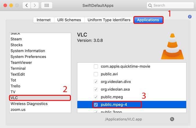 tìm VLC và thêm bất kỳ tệp nào bạn muốn đặt theo mặc định