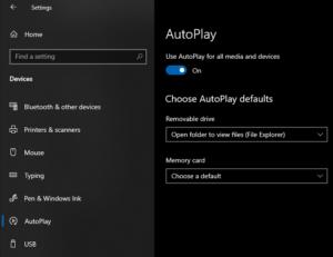 Để tắt AutoPlay cho thiết bị USB 2