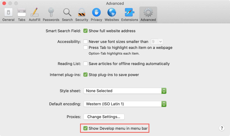 Cài đặt Safari Hiển thị nâng cao Phát triển