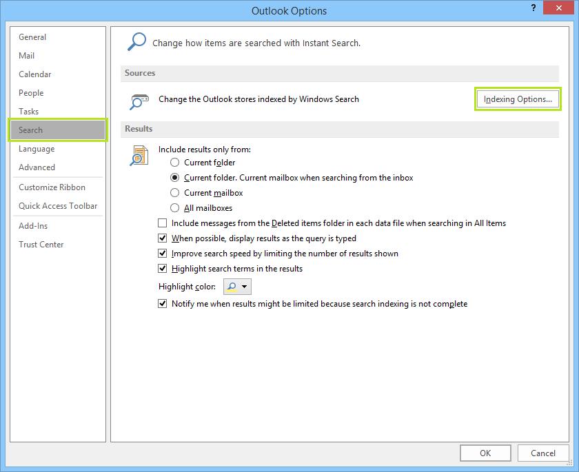 Cách khắc phục sự cố lập chỉ mục Outlook 2016 trên PST cục bộ 3