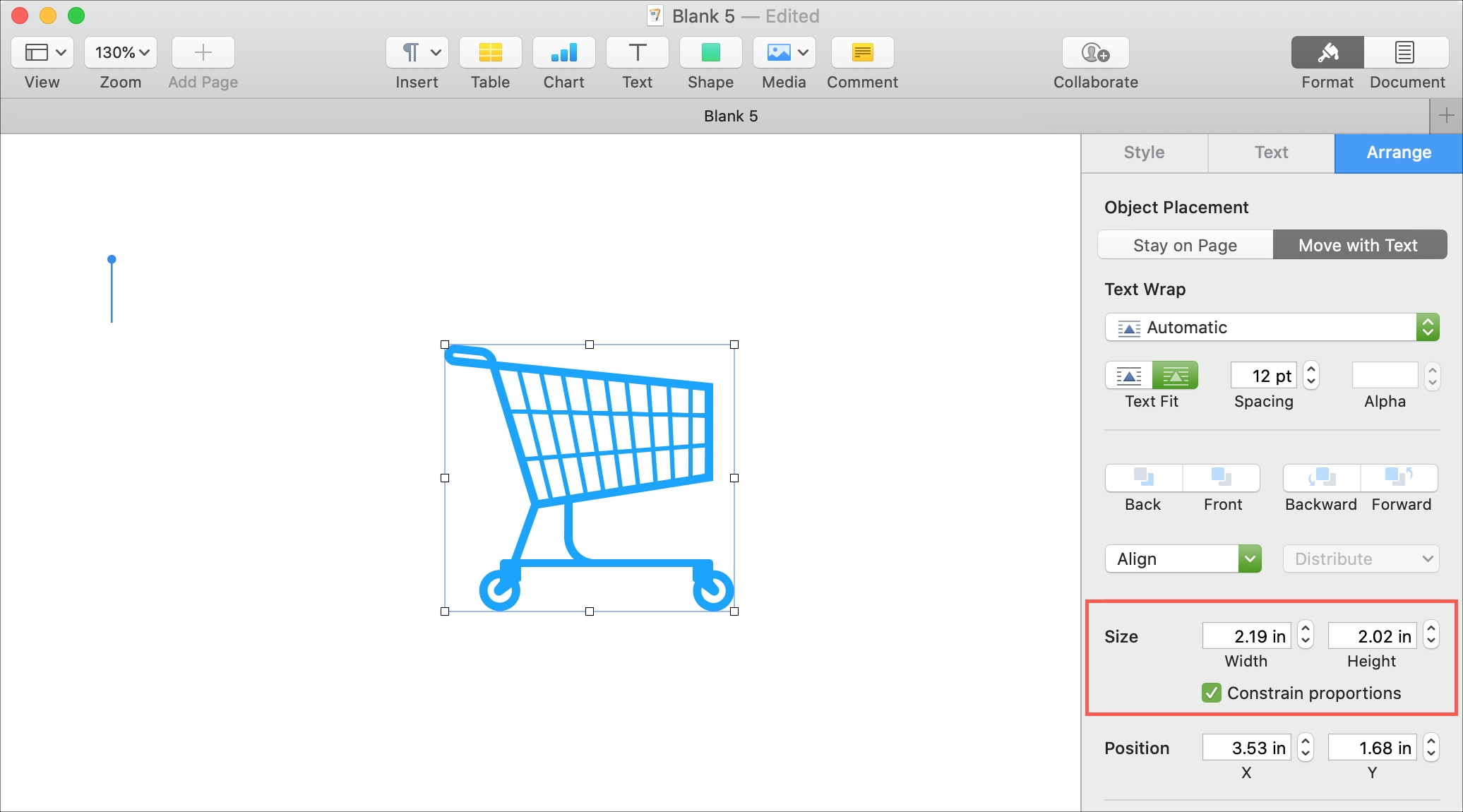 Thay đổi kích thước trang trên Mac
