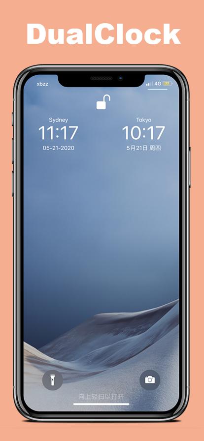 DualClock thêm đồng hồ múi giờ thứ cấp vào màn hình khóa iPhone của bạn 1
