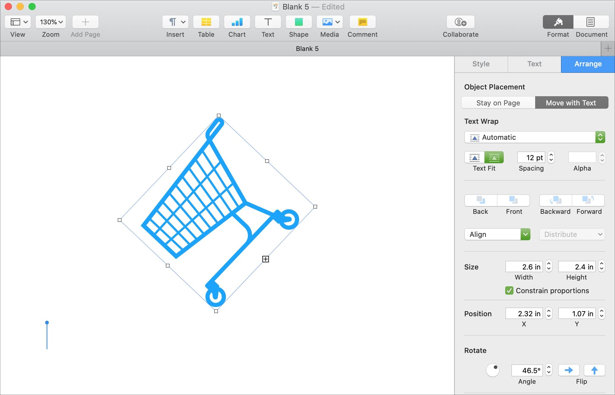 Thay đổi kích thước trang Xoay đối tượng lật Mac