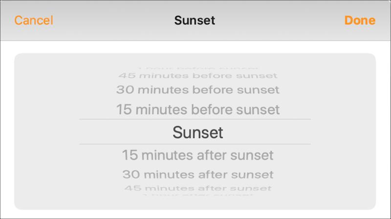 Tự động hóa nhà Sunset Times Mac