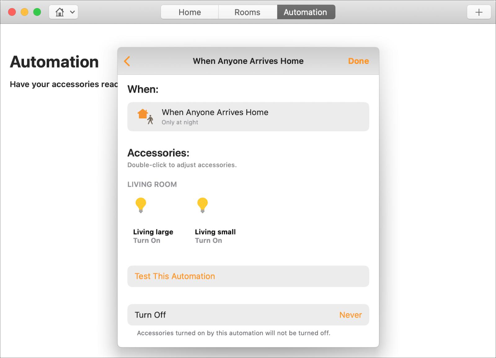 Tự động hóa nhà khi có người đến trên Mac