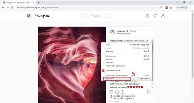 Lưu ảnh và video từ Instagram với các công cụ phát triển trình duyệt