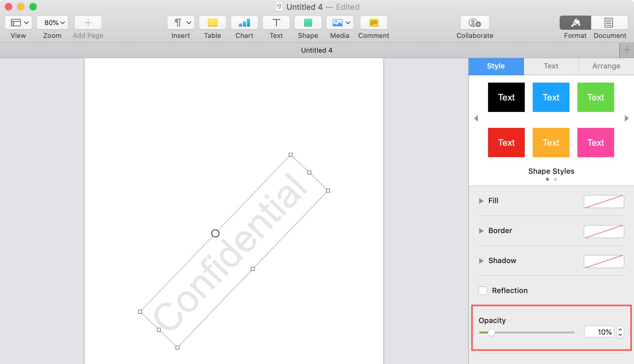 Trang đối tượng Opacity Mac