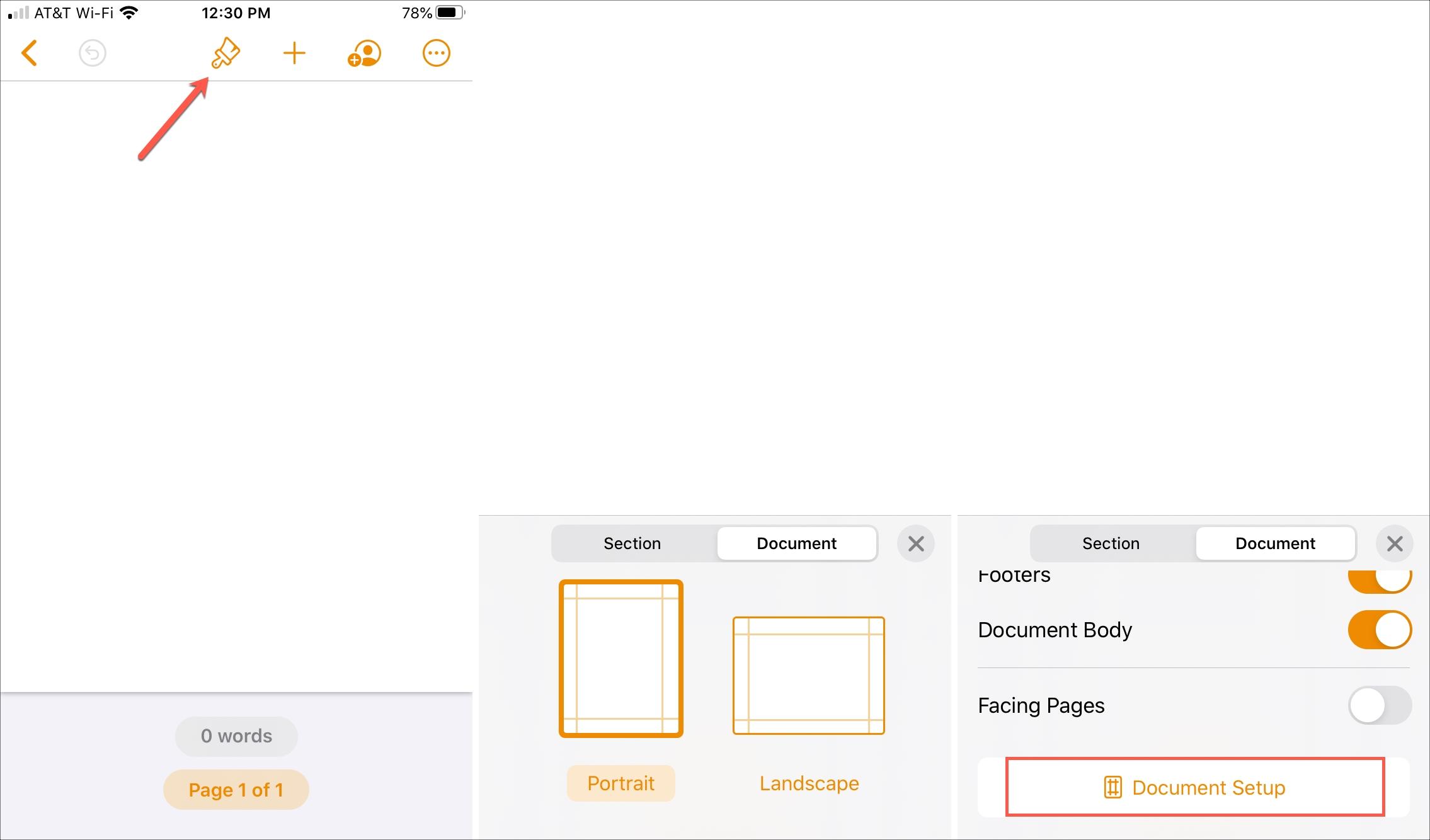 Trang thiết lập tài liệu kiểu iPhone