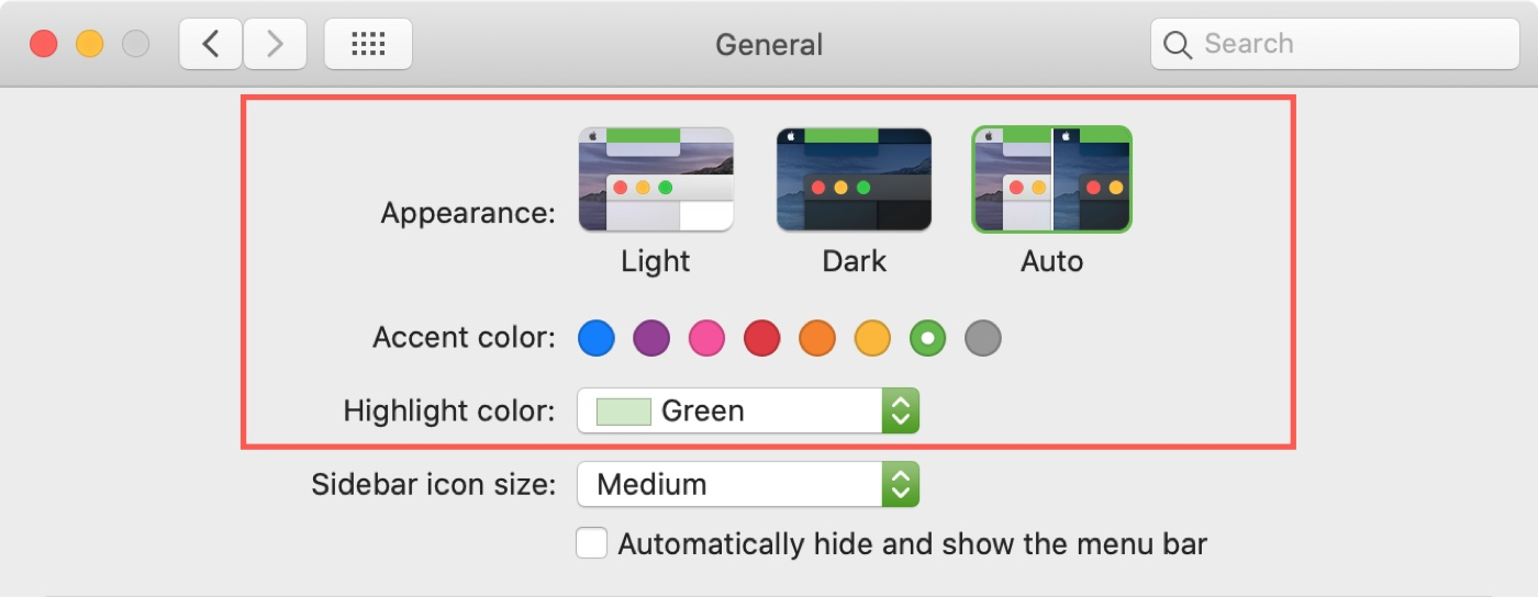 Chọn bảng màu Mac