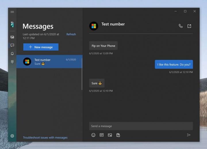 Android Windows 10 phiên bản tin nhắn trên điện thoại thông minh
