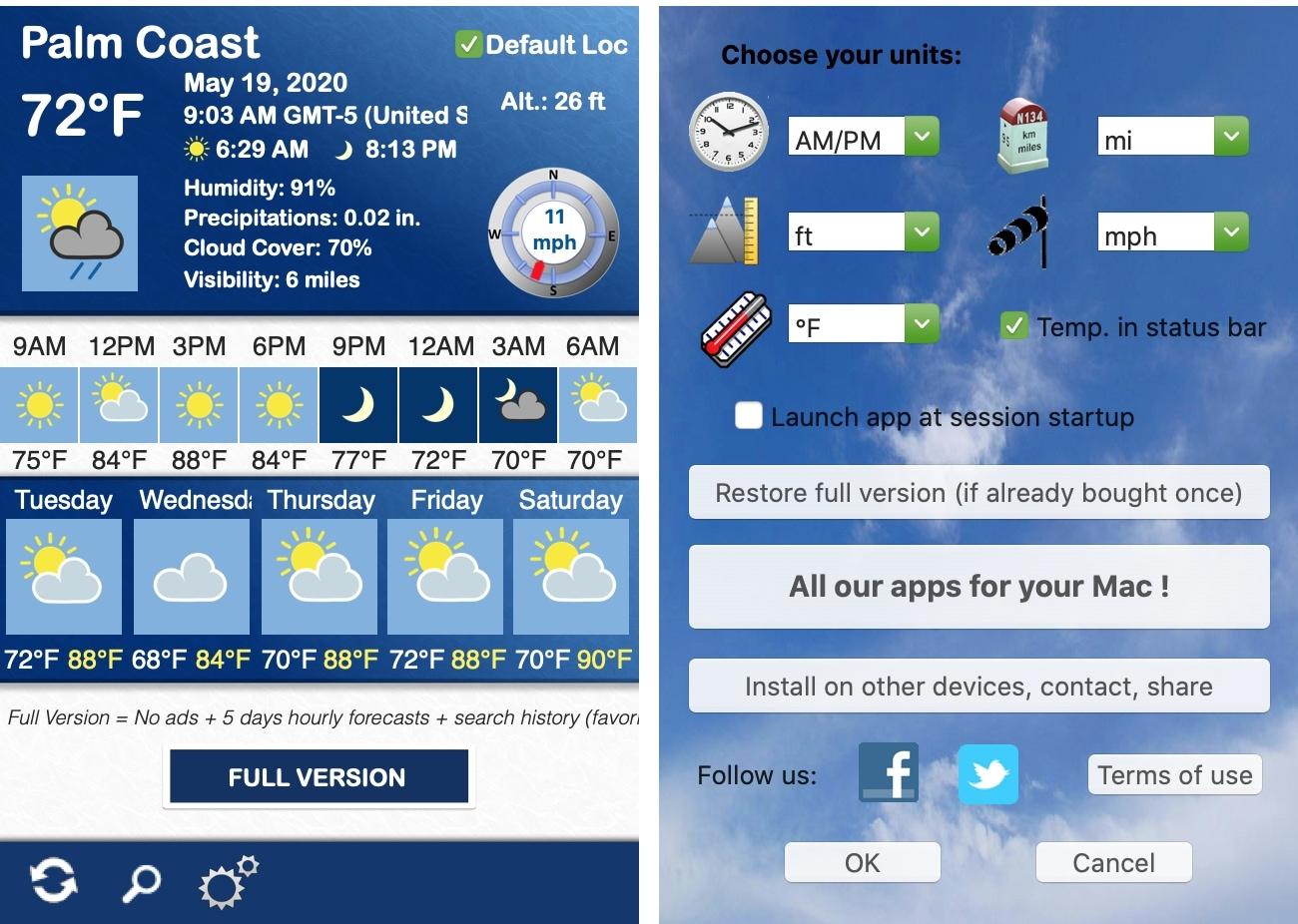 Thời tiết 5 Ứng dụng hôm nay trên Mac