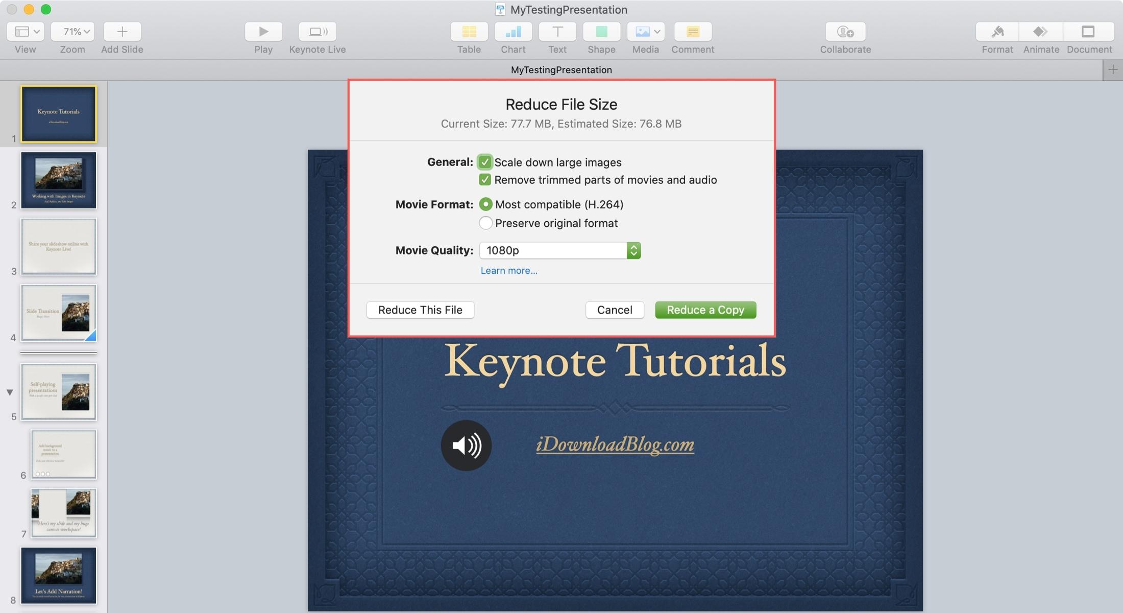 Keynote Giảm kích thước tệp Mac