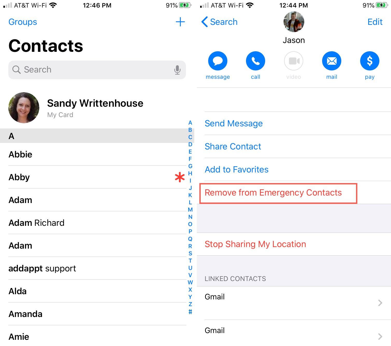 Danh bạ khẩn cấp Dấu hoa thị Loại bỏ iPhone