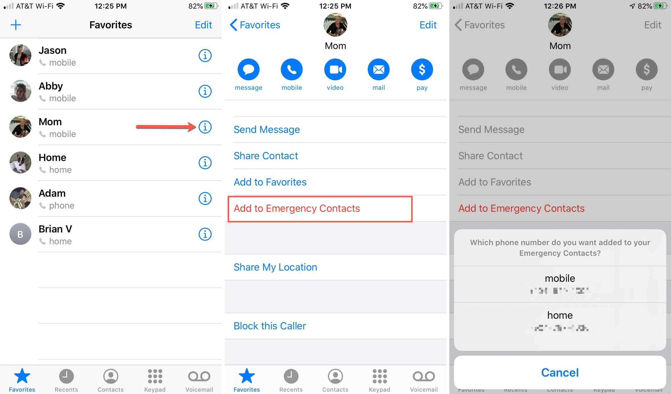 Gọi điện thoại Thêm danh bạ khẩn cấp iPhone