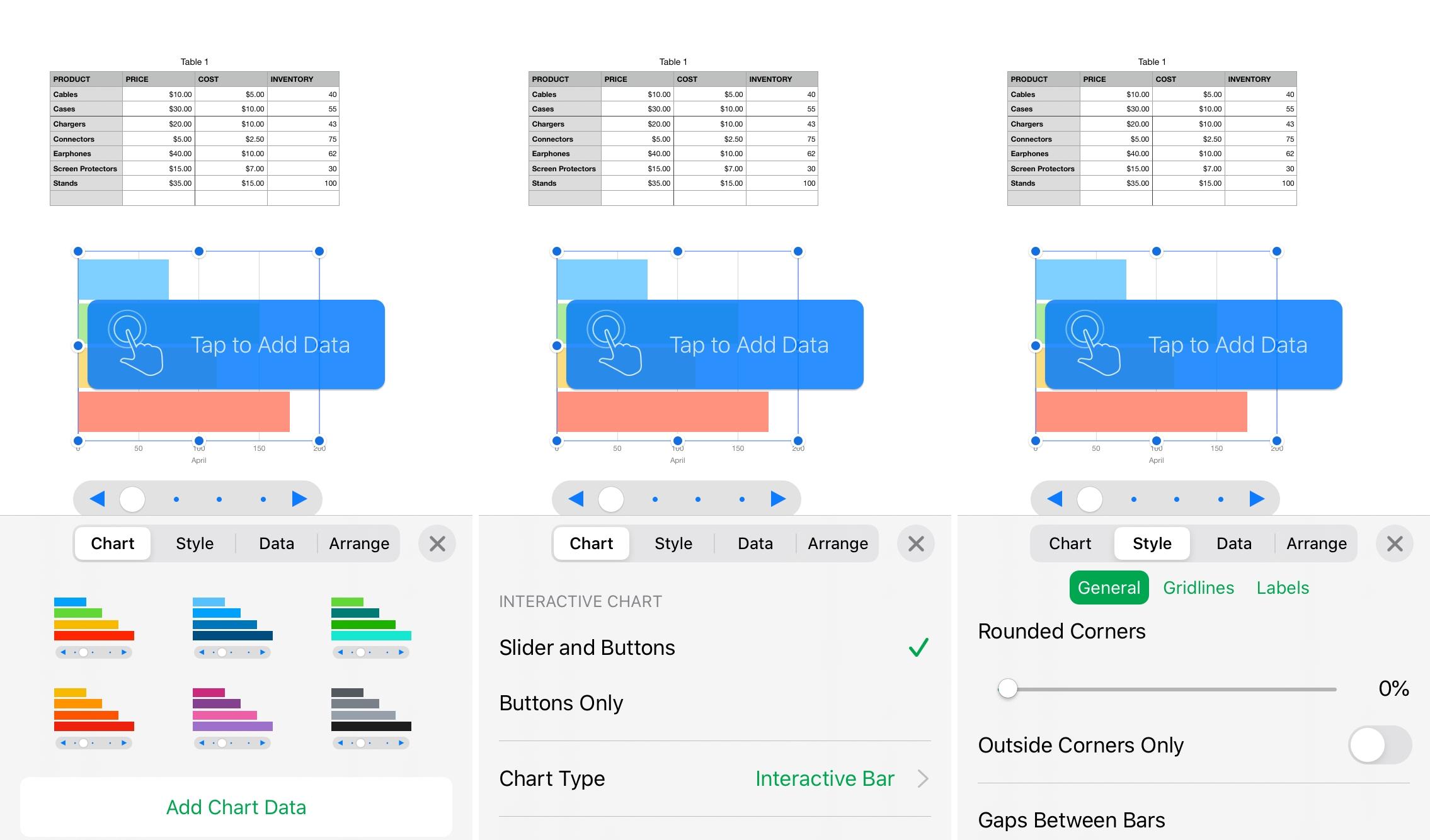 Định dạng biểu đồ tương tác trong số iPhone