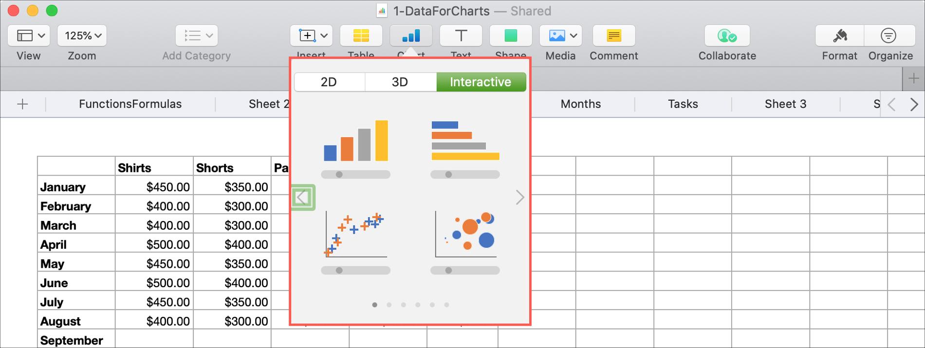 Chèn biểu đồ tương tác vào số Mac