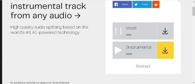 Dễ dàng hát và hát trong một bài hát với Lalal 2