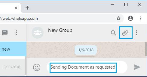 Ikona prílohy súboru na WhatsApp Web